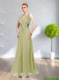 2015 Beautiful  Elegant V Neck Prom Dress with Ruching and Hand Made Flower