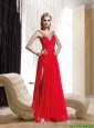 2015 Beautiful  Perfect Beading and Ruching Floor Length Prom Dress in Red