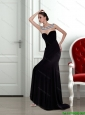 2015 Beautiful  Pretty Backless Strapless Beading Black Prom Dress