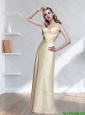 2015 Beautiful  Pretty Bateau Appliques Prom Dress in Champagne