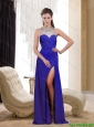 2015 Beautiful  Spring Bateau Blue Prom Dress with Beading and High Slit