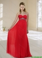 2015 New Arrivals Sweetheart Floor Length Red Prom Dress with Beading