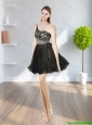 2015 Cute Chiffon One Shoulder Beading and Appliques Elegant Bridesmaid Dresses in Black