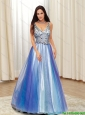 2015 Discount A Line V Neck Beading Tulle Prom Dresses in Multi Color