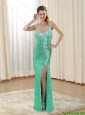 2015 Discount Column V Neck Bridesmaid GreenDresses with Sequins