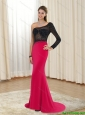 2015 Discount Mermaid Asymmetrical Chiffon Prom Dresses in Red and Black
