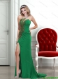 2015 Exclusive Empire Strapless Backless Beading Bridesmaid Dresses in Green