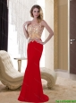 2015 Exclusive One Shoulder Red Long Elegant Bridesmaid Dresses with Appliques and Brush Train