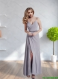 2015 Fashionable Spaghetti Straps Long  Bridesmaid Dress with Ruching and High Slit