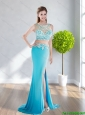 2015 Modest Bateau Long Prom Dress with Appliques and Brush Train