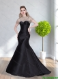 2015 Modest High Neck Mermaid Beading Prom Gown Dress in Black