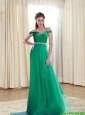 2015 Modest Off The Shoulder Organza Sweep Train Prom Dress with Beading and Ruching