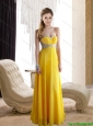 2015 Modest Yellow Sweetheat Prom Dress with Rhinestones