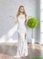 2015 New Bateau White Long Elegant Bridesmaid Dresses with Appliques and High Slit