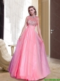 2015 Plus Size Column Tulle Scoop Beading Watermelon Prom Gowns