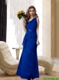 2015 Pretty One Shoulder Belt Floor Length Bridesmaid Dress in Royal Blue