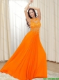 2015 Simple Bateau Orange Red Elegant Bridesmaid Dresses with Appliques and Brush Train
