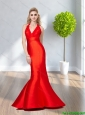 2015 The Brand New Arrivals Halter Top Red Prom Dresses with Belt