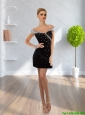 2015 Unique Discount Off The Shoulder Column Beading Prom Dress in Black