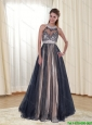 2015 Exclusive Halter Top Floor Length Unique Prom Dress with Appliques