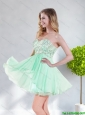 2015 Exquisite Empire Appliques Chiffon Sweetheart Unique Prom Dress in Apple Green