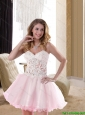 2015 Popular Sweetheart Baby Pink Mini Length Unique Prom Dress with Appliques