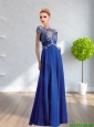 2015 Wonderful Empire Scoop Appliques Elegant Bridesmaid Dresses in Royal Blue