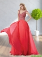 Beautiful 2015 V Neck Cap Sleeves Beading Elegant Bridesmaid Dresses in Red