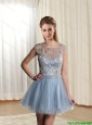 Beautiful  Discount Beading Scoop Light Blue Chiffon Prom Dress for 2015
