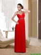 Beautiful  Perfect Empire Halter Top Red Prom Dress with Beading and Ruching