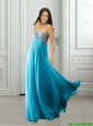 Discount 2015 Strapless Beading Chiffon Prom Dresses in Blue