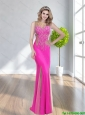 Elegant 2015 Bateau Beading Column Button Up Fuchsia Bridesmaid Dresses