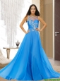 Fashionable Bateau Empire Beading Baby Blue Cheap Bridesmaid Dresses for 2015