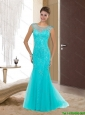 Luxurious 2015 Column Scoop Aqua Blue Bridesmaid Dresses with Appliques