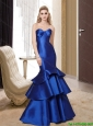 Luxurious 2015 Mermaid Royal Blue Cheap Bridesmaid Dresses with Ruffled Layers