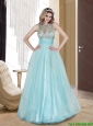 Modest 2015 Column Scoop Tulle Beading Prom Gowns in Light Blue