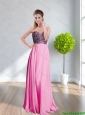 New Style 2015 Beautiful  Sweetheart Appliques Long Prom Dress in Rose Pink