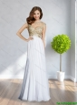 Perfect Scoop Beading and Ruching Backless 2015 Beautiful  White Prom Dress
