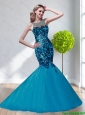 Plus Size 2015 Scoop Tulle Appliques Prom Dress in Teal