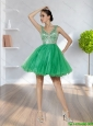 Plus Size 2015 V Neck Criss Cross A Line Beading Prom Dress in Green