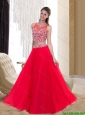 Plus Size Empire Scoop Beading Chiffon Red Prom Dresses for 2015