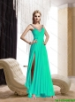 Popular 2015 Scoop Beading and Ruching Prom Dress in Turquoise