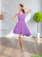 Popular 2015 Spring V Neck Mini Length Lilac Prom Dress with Ruching