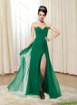 Popular 2015 Sweetheart New Style Ruching and High Slit Dark Green Prom Dress