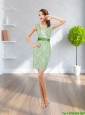 Popular 2015 V Neck Green Prom Dress with Lace and Belt