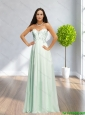 Popular Sweetheart Beading and Ruching Apple Green Prom Dress for 2015