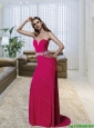 Popular Sweetheart Wine Red 2015 Prom Dress with Beading