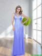 Pretty 2015 Beautiful  Beading V Neck Lavender Prom Dress with Criss Cross