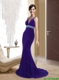 Remarkable Mermaid V Neck Criss Cross Purple Bridesmaid Dresses for 2015