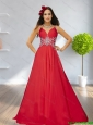 2015 Artistic Empire Straps Beading Red Cheap Bridesmaid Dress with Brush Train